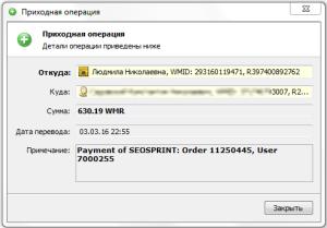 Выплата Сеоспринт